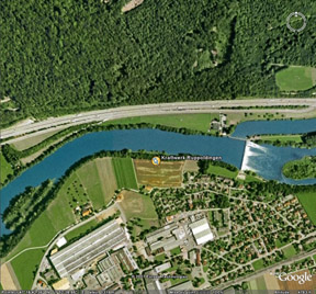 A Google Earth view of a part of Switzerland