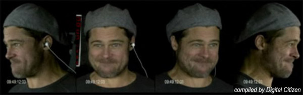Brad Pitt being filmed from four angles to make sure the right shot was captured. The phosphorescence on his face does not show on this regular film.