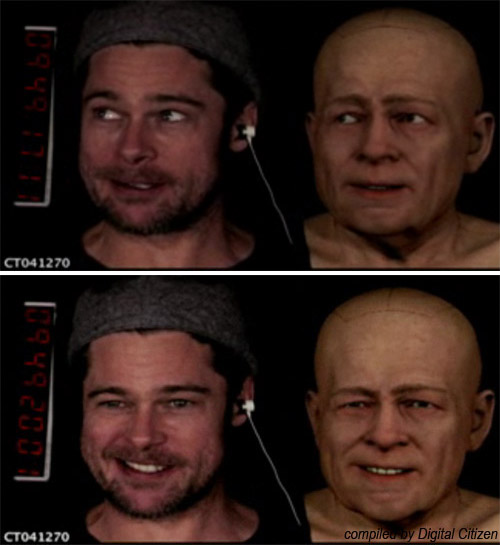 Brad Pitt's expressions mapped to Benjamin Button's face. This shows how as Brad moves, the computer face also moves.