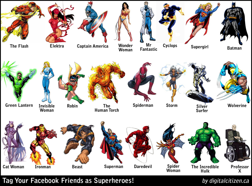 Tagging Your Facebook Friends on Superheroes Poster
