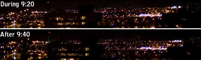 Looking at Downtown Dartmouth, note the MacDonald bridge flood lights off during Earth Hour and on again after it