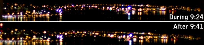 Looking towards the road to Cole Harbour and Eastern Passage during and after Earth Hour. There may not be many homes here, but whatever the sources of the lights, there was practically no difference during Earth Hour. (click to enlarge)