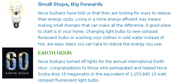NSPI Earth Hour 2009 Results screen capture, provided because the link in the text may not yield the quoted information long after Mar 28 2009 because its URL indicated it was for the top story regarding Energy Efficiency, not a dedicated page to Earth Hour. The next story in the category would conveniently sweep this one into the dark matters of cyberspace.