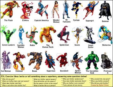 ESL/EFL exercise involving comic superheroes (0.6MB PDF)