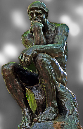 Thinker Statue, by Auguste Rodin (colour treatment by me)