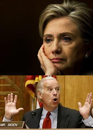 Secretary of State Hillary Clinton and Vice-president Joe Biden