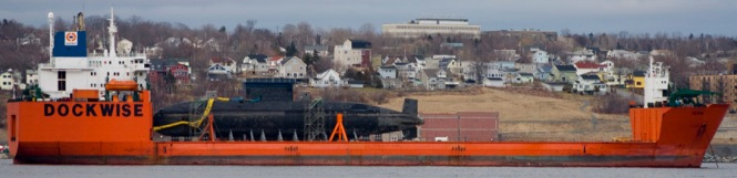The mobile Dockwise ship platform on which the Canadian Navy EcoSub rested, Halifax Apr 06 2009 (click to enlarge)