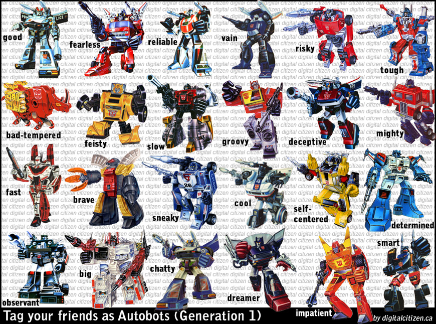 Autobots G1 Facebook Friends Tagging Meme – Digital Citizen