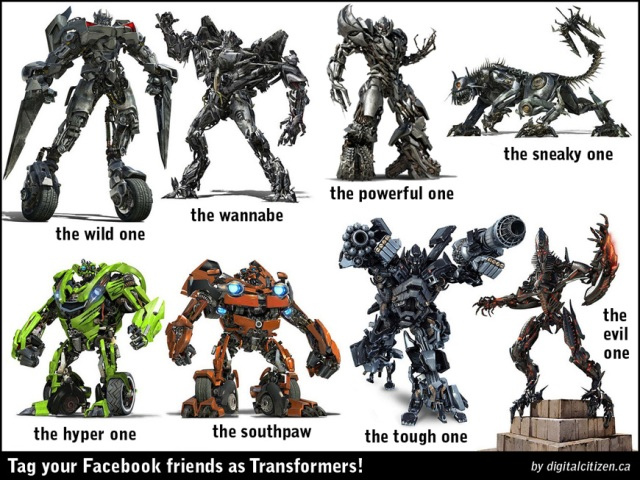 Friends tagging meme posters transformers facebook tagging meme