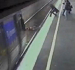 Baby whose pram fell into train tracks of an oncoming train as Mother runs to try and rescue