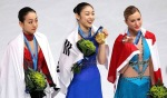 Mao Asado, Yu-Na Kim, Joannie Rochette in celebration lap