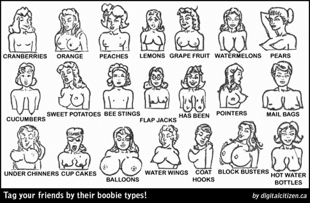 Tag your friends by their boobie types! (FB may take this down if they take down breastfeeding pics)