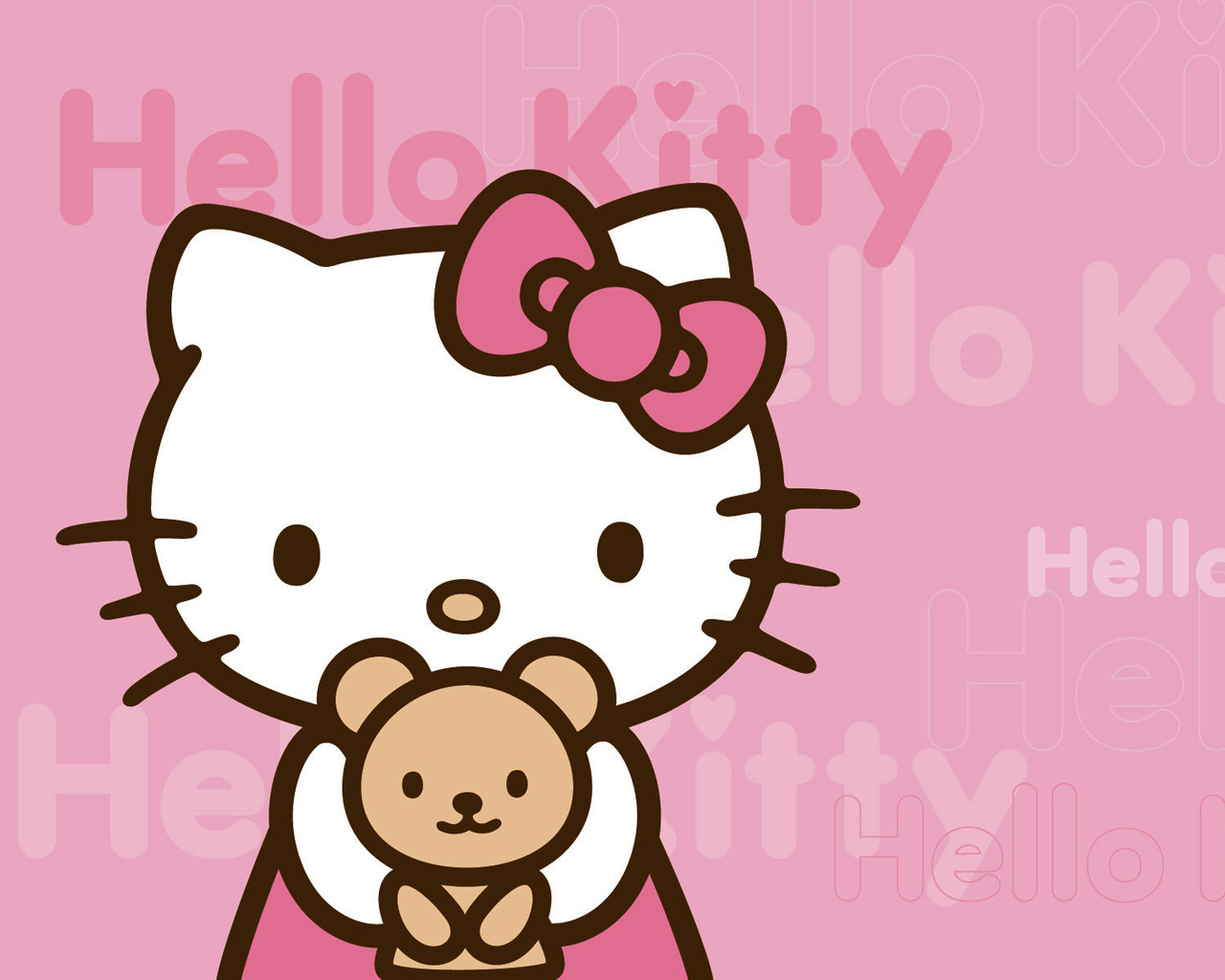 Hello Kitty Pink Background 1280—1024
