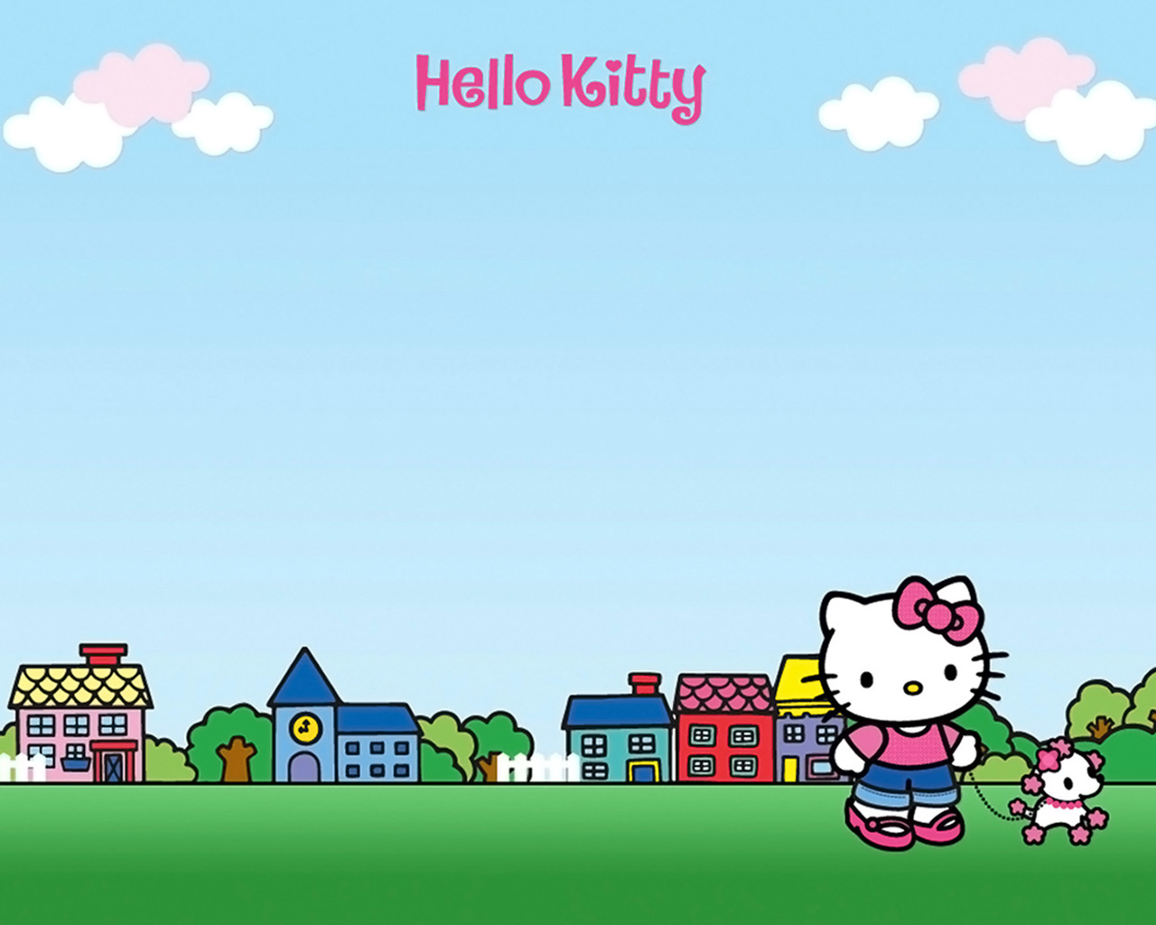 Hello Kitty Walking Dog 1280 1024 Digital Citizen