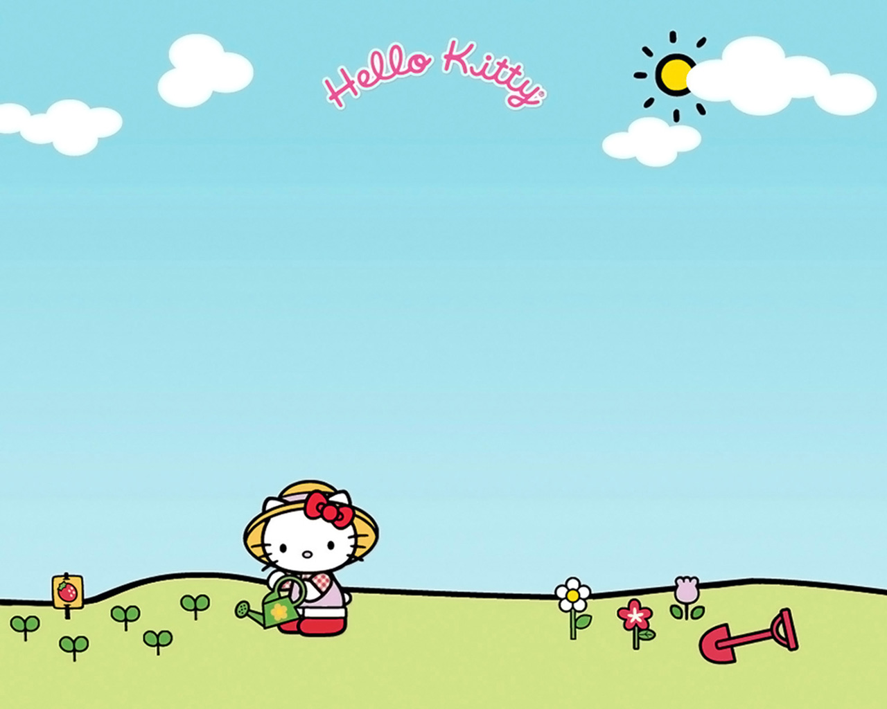 Download Wallpaper Hello Kitty Sky Blue - hello-kitty-watering-garden-1280x1024  Pictures_993191.jpg