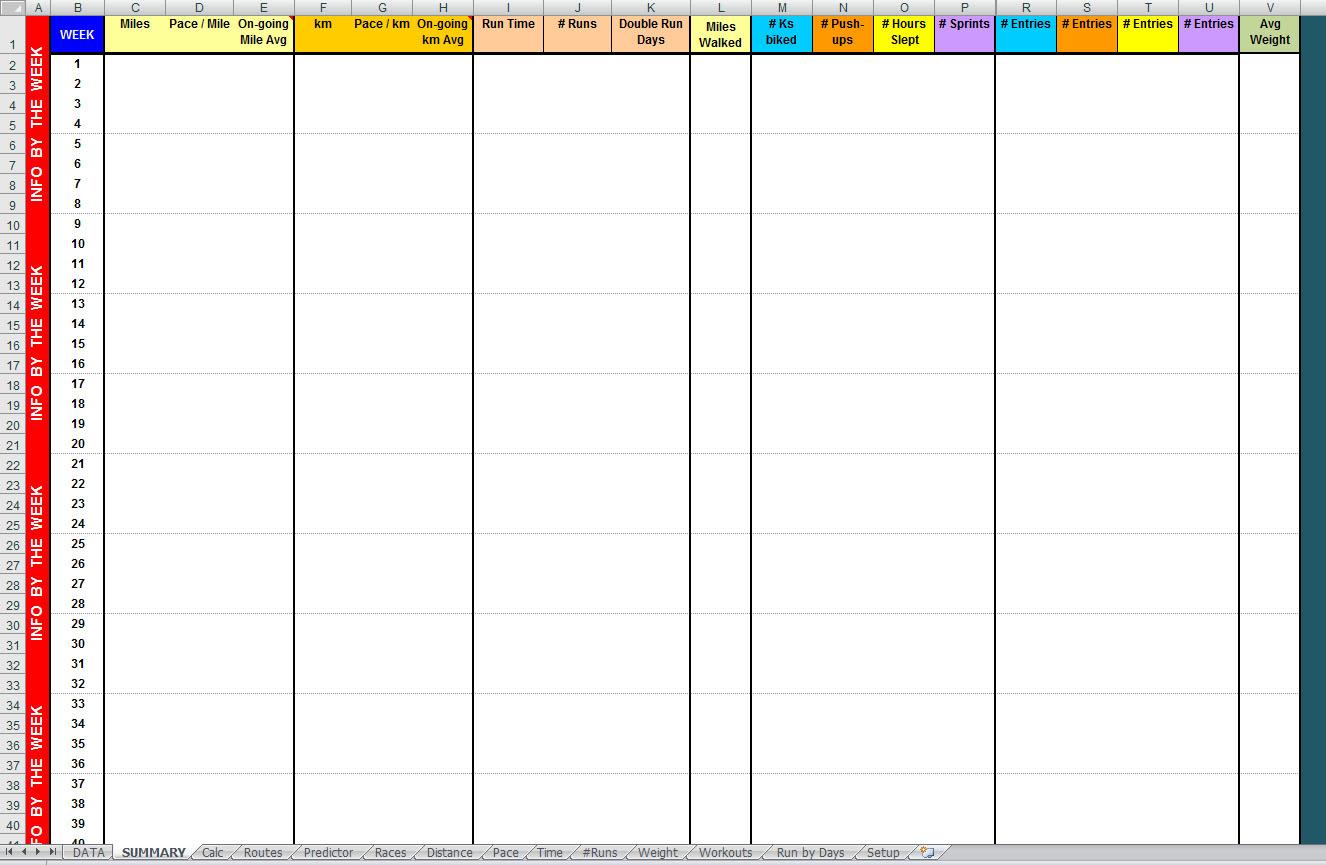 weight training log sheet