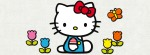 Hello Kitty flowers sitting Facebook Timeline Cover Photo