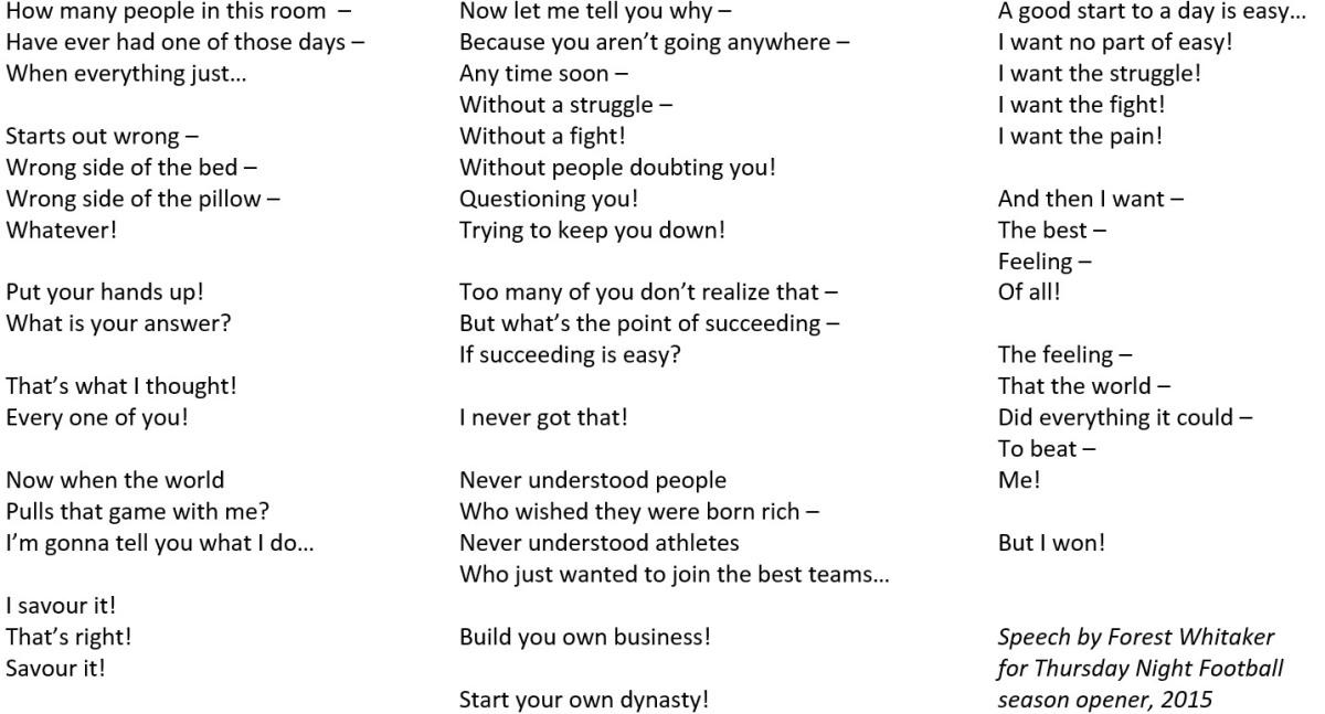 Pre written speeches